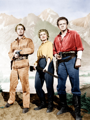 Alan Ladd, Jean and Van Heflin in SHANE