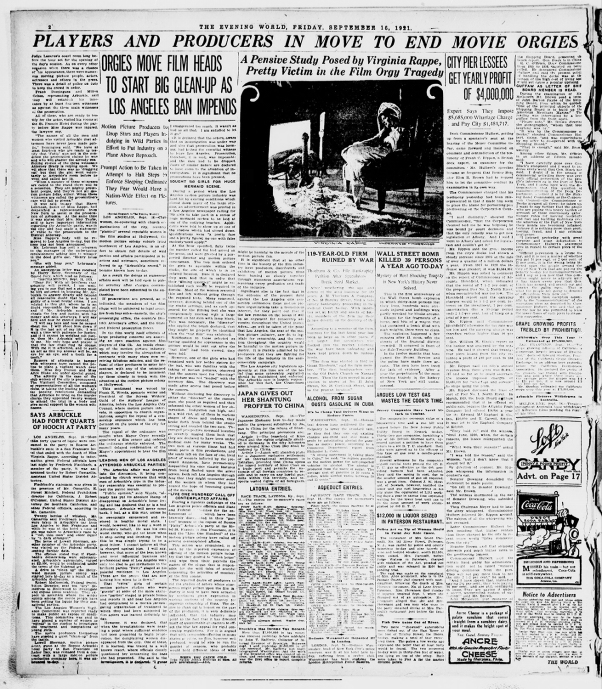 "Newspaper coverage of ""movie orgies"" in 1921 were commonplace"