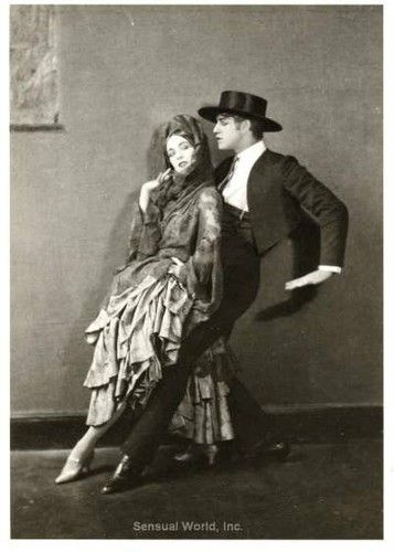 Martha Graham and Ted Shawn tango on a 1922 postcard