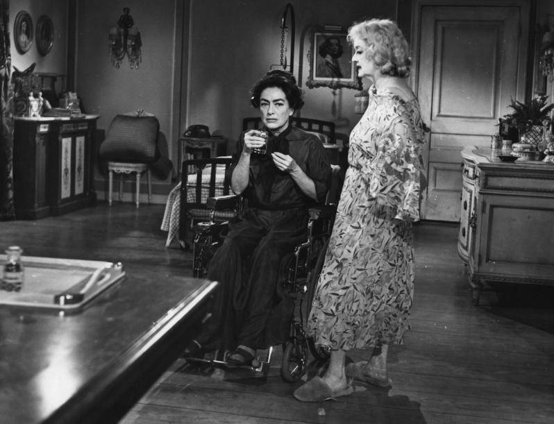 Joan Crawford and Bette Davis as Blanche and Baby Jane Hudson