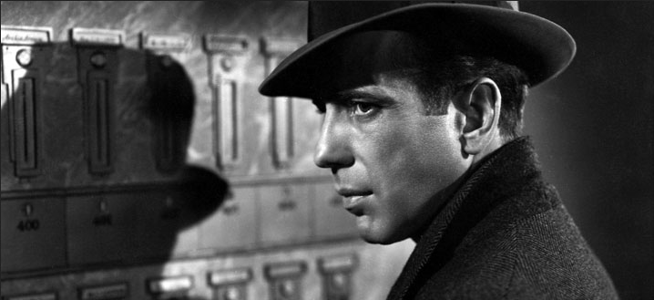 Humphrey Bogart is Sam Spade in The Maltese Falcon