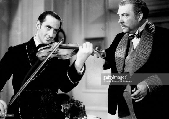 Rathbone's Sherlock entertains Bruce's Dr. Watson