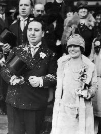 Alfred Hitchcock and Alma Reville on their wedding day