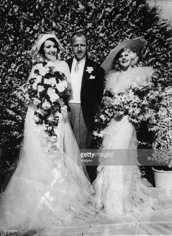Carmelita Geraghty weds Carey Wilson - here with maid of honor, Jean Harlow
