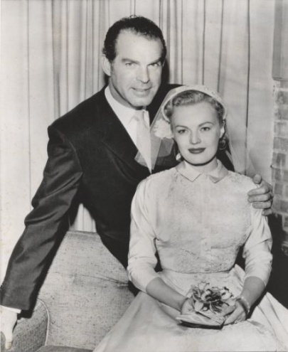 Fred MacMurray and June Haver on their wedding day