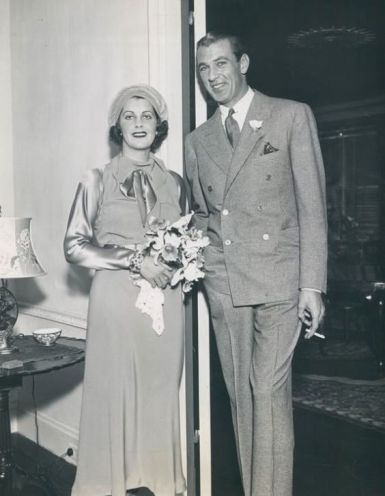 Gary Cooper and his wife Veronica, on their wedding day