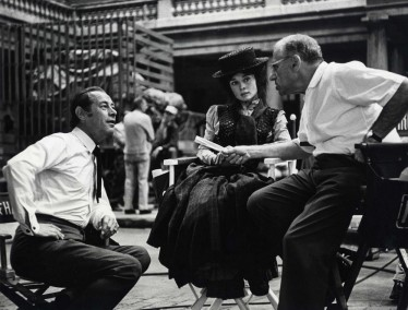 George Cukor directing Rex Harrison & Audrey Hepburn in 1964's My Fair Lady