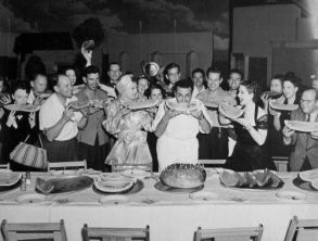 Joan Crawford, George Cukor & Norma Shearer in a watermelon eating contest.