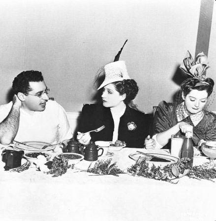 With Norma Shearer, and Rosalind Russell on a lunch break on the set of The Women