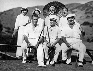 At the course - Front row, left to right, P.K. Wrigley, Stan Laurel, Oliver Hardy; back row, Mrs. Hardy, Mrs. Wrigley, Mrs. Laurel and Jan Gaber.