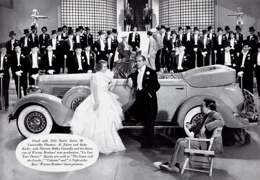 Keeler and Jolson in a 1935 Buick ad