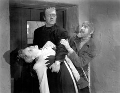 Evelyn Ankers with Lon Chaney Jr and Bela Lugosi in GHOST OF FRANKENSTEIN