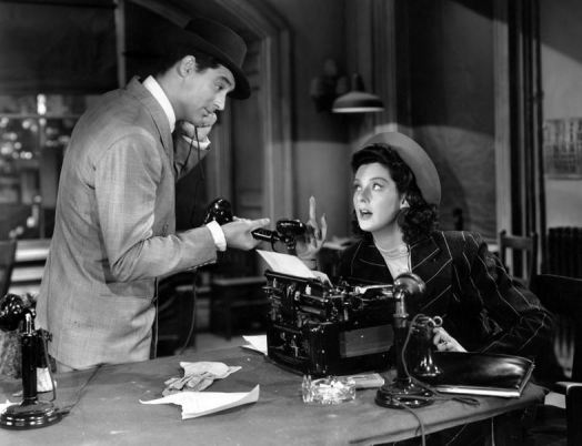 Grant and Russell in HIS GIRL FRIDAY