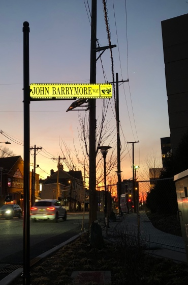 John Barrymore Way looking up Main Street in Fort Lee, NJ