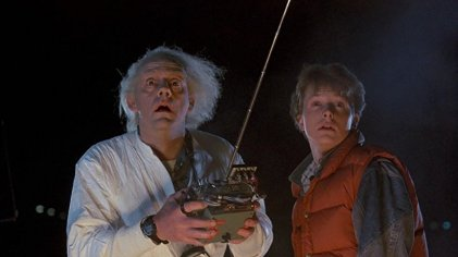 Doc demonstrates the time traveling DeLorean for Marty