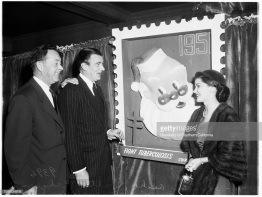 Christmas seal campaign luncheon, 14 November 1951. Sherman Asche, Seal Chairman;Walter Pidgeon;Debra Paget