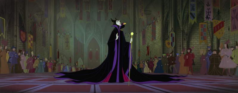 Maleficent arrives at the celebration of the birth of Princess Aurora