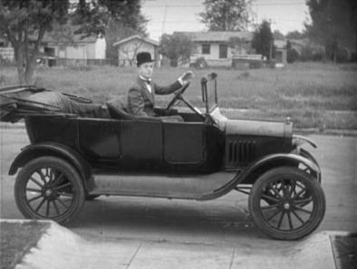 Stan Laurel in a Ford Model T 1920, which appeared in several Laurel and Hardy movies